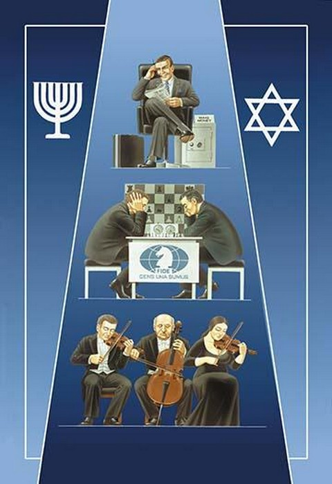 1 Jew (Banker) 2 Jews (Chess) 3 Jews (Orchestra) by Dimitri Deeva - Art Print