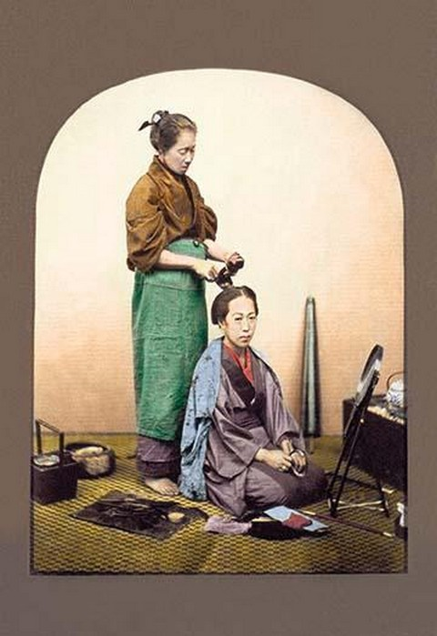 Woman having Her Hair Done by Von Stillfried - Art Print