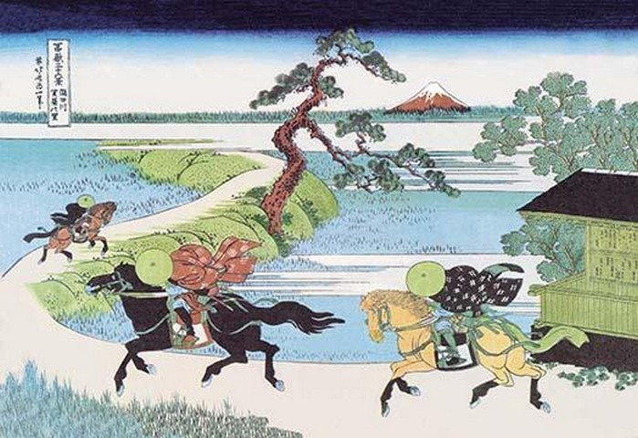 View of Mount Fuji from Horseback by Hokusai - Art Print