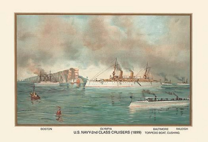 U.S. Navy 2nd Class Cruisers (1899) - Olympia by Werner - Art Print