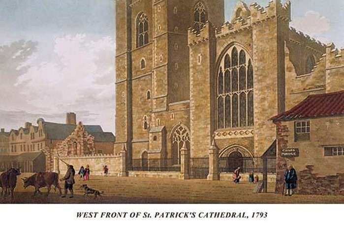 West Front of St. Patrick's Cathedral, 1793 by James Malton - Art Print