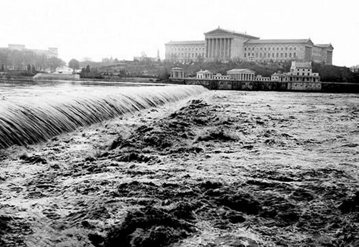 Waterfalls with Art Museum in Distance, Philadelphia, PA by FREE LIBRARY OF PHILADELPHIA - Art Print