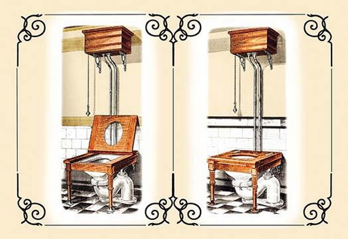 Two Wooden Toilets - Art Print