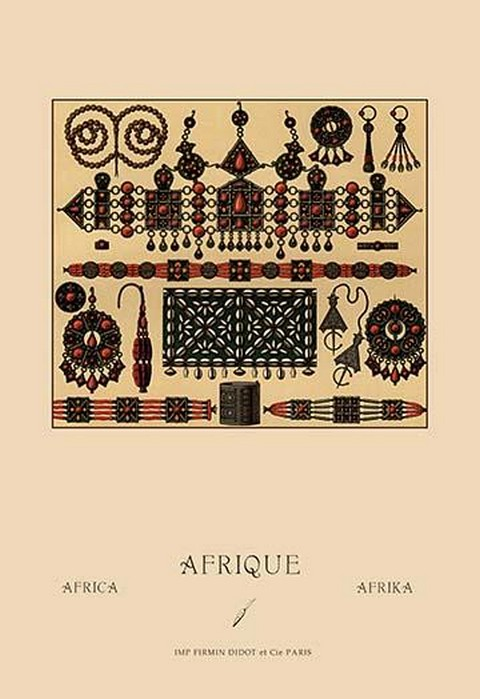African Metalwork and Beading by Auguste Racinet - Art Print