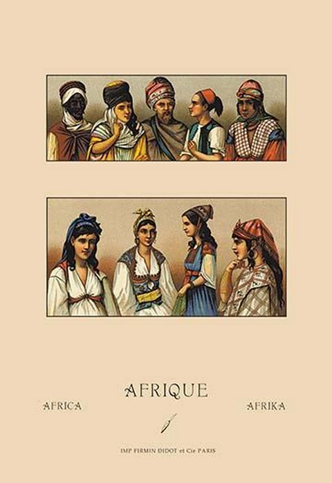 Traditional Dress of Northern Africa by Auguste Racinet - Art Print