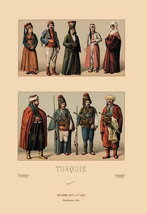 A Variety of Turkish Costumes by Auguste Racinet - Art Print