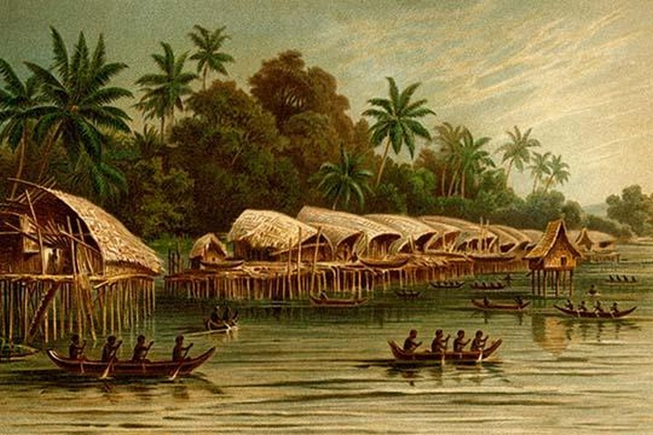 Village on Stilts - New Guinea by Friedrich Wilhelm Kuhnert - Art Print