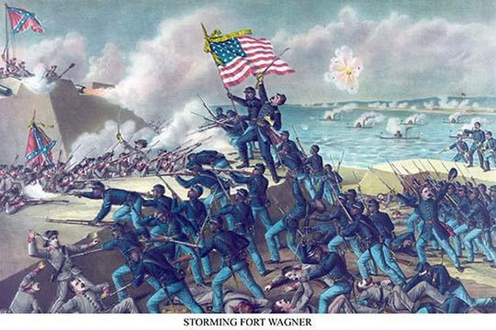 African American unit, the 54th Massachusetts overruns Fort Wagner - Art Print