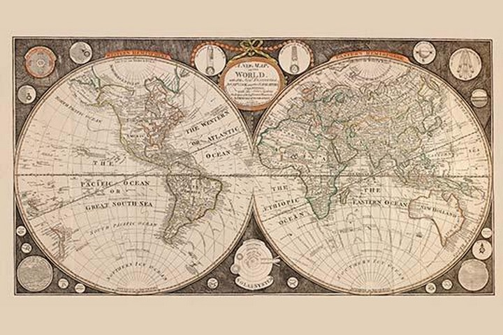 A New map of the world : with all the new discoveries by Capt. Cook and other navigators by Thomas Kitchen - Art Print