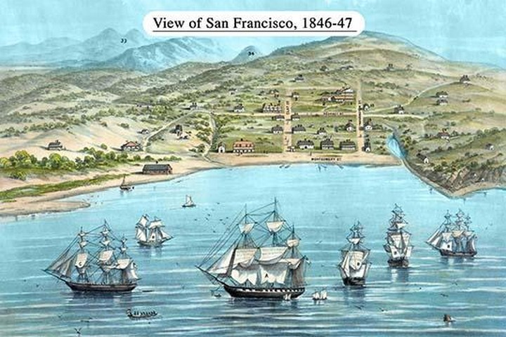 View of San Francisco, formerly Yerba Buena, in 1846-7. Before the discovery of gold by Bosqui & Co. - Art Print