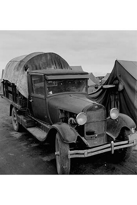 Truck Parked by Tent in FSA site by Dorothea Lange - Art Print