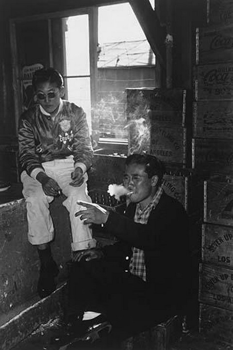 Two Young Men in Co-Op Goods Store by Ansel Adams - Art Print
