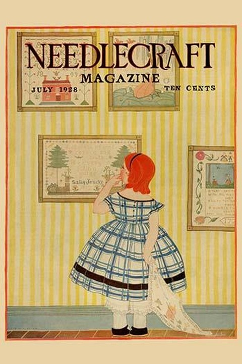 Young girls looks at a selection of old needlepoints on a wall by Needlecraft Magazine - Art Print