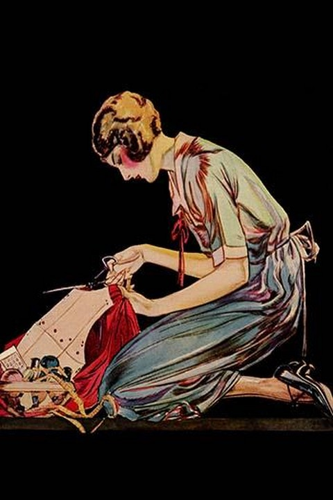 Woman cuts a dress patter with her scissors by Modern Priscilla #2 - Art Print