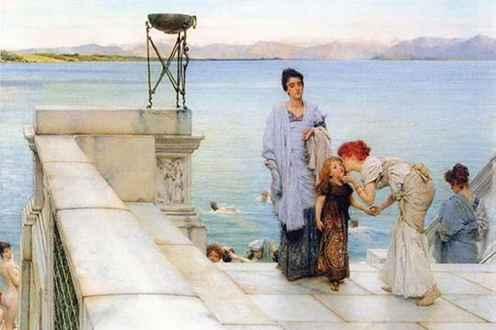 A Kiss by Sir Lawrence Alma-Tadema - Art Print