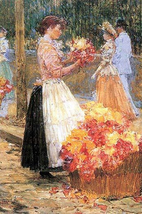 Woman sells flowers by Frederick Childe Hassam - Art Print
