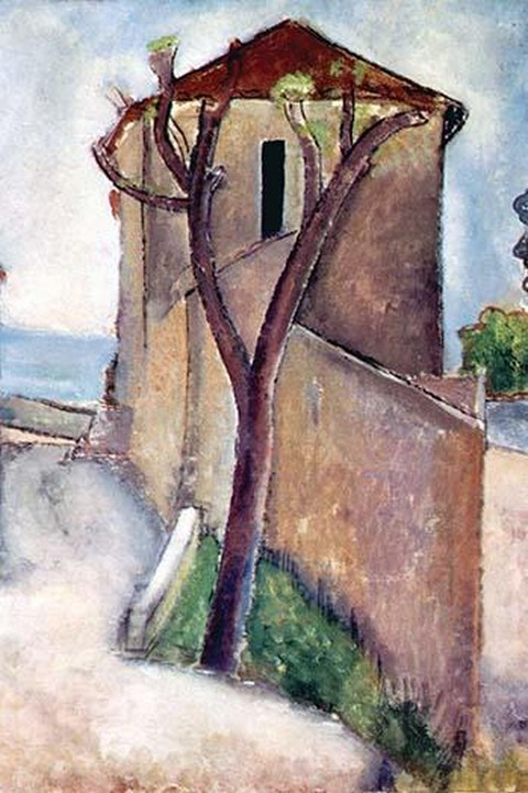 Tree and House by Amadeo Modigliani - Art Print