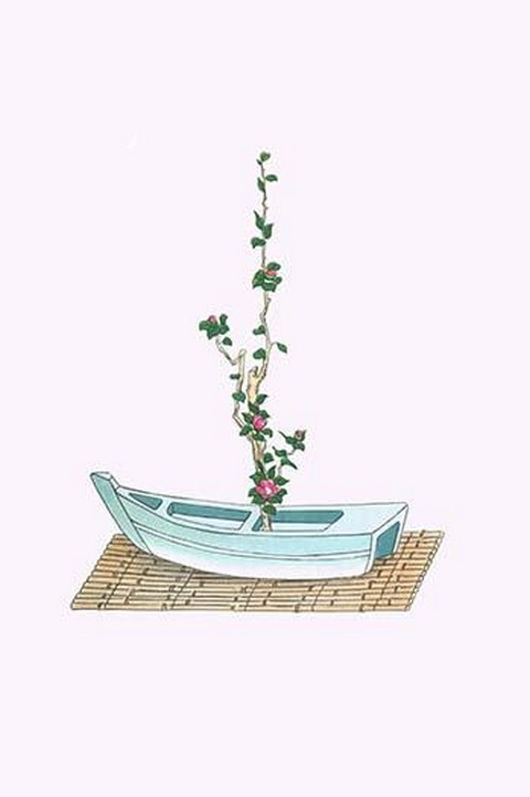 Tsubaki (Camellia Japonica) in a boat shaped Vase by Josiah Conder #2 - Art Print