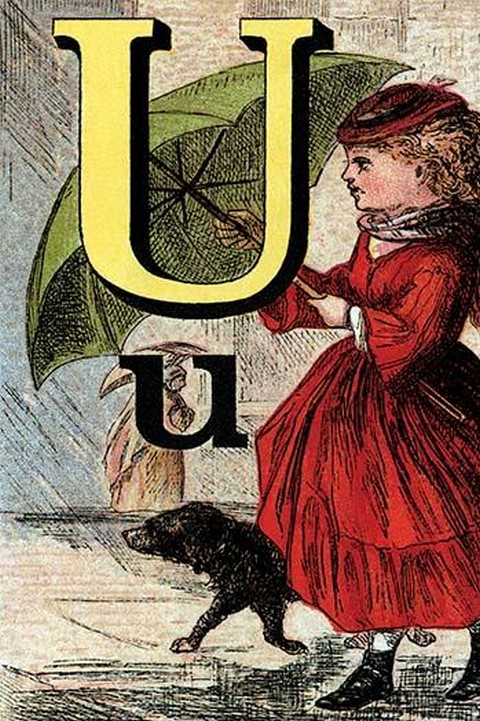 U for the Umbrella that keeps off the Rain by Edmund Evans - Art Print