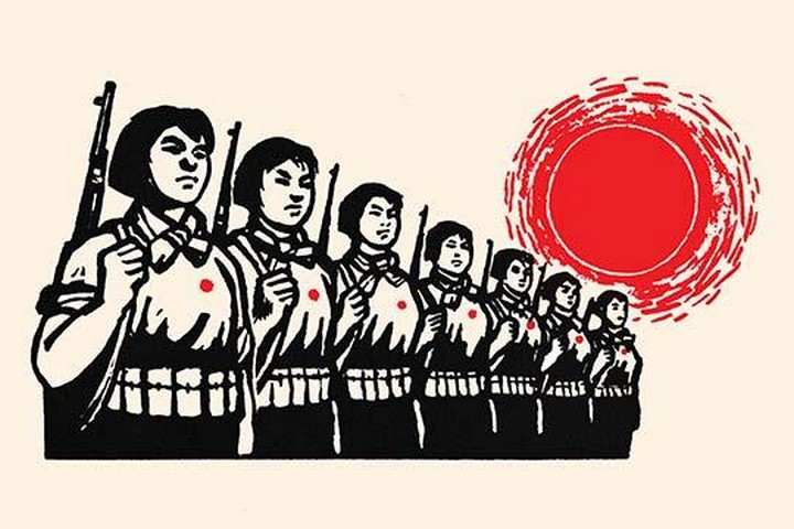 Women Fight Under the Red Sun by Chinese Government - Art Print