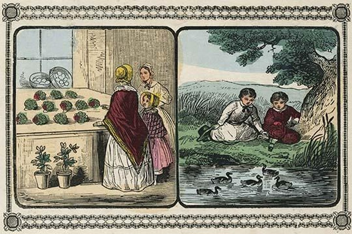 Women visit a shop that sells plants and boys by a pond count ducks. by Charles Butler - Art Print