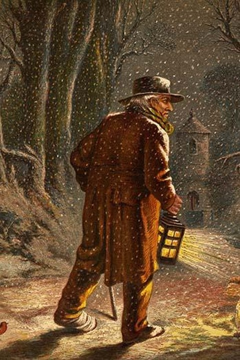 Walking outside in the falling snow wth a lantern on Christmas Eve. by Kronheim & Dalziels - Art Print