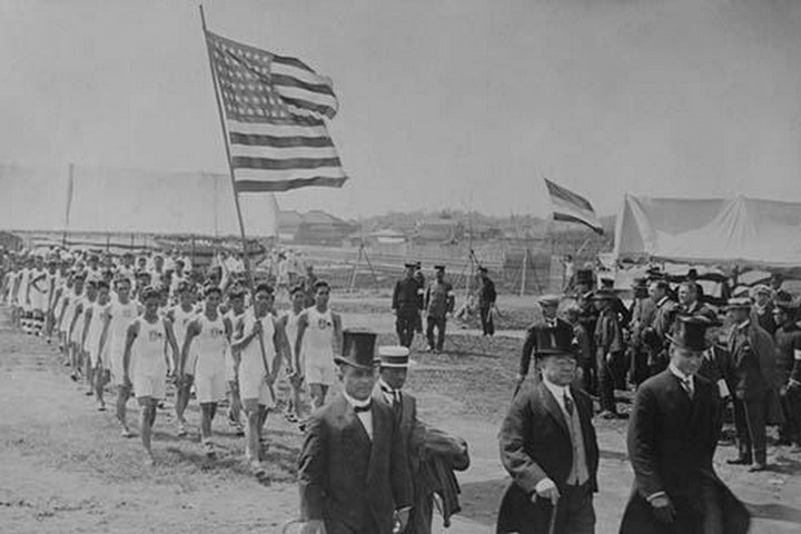 American & Filipino Athletes March Behind Japanese Dignitaries - Art Print