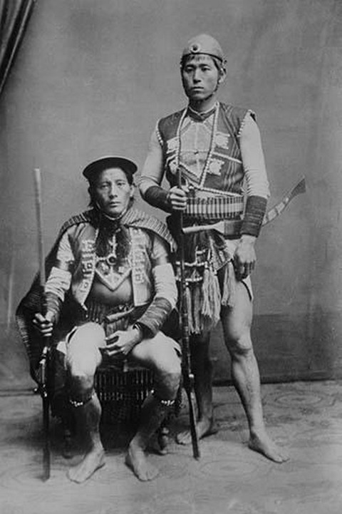 Two Formosan Tribal Chiefs in Native Garb pose - Art Print