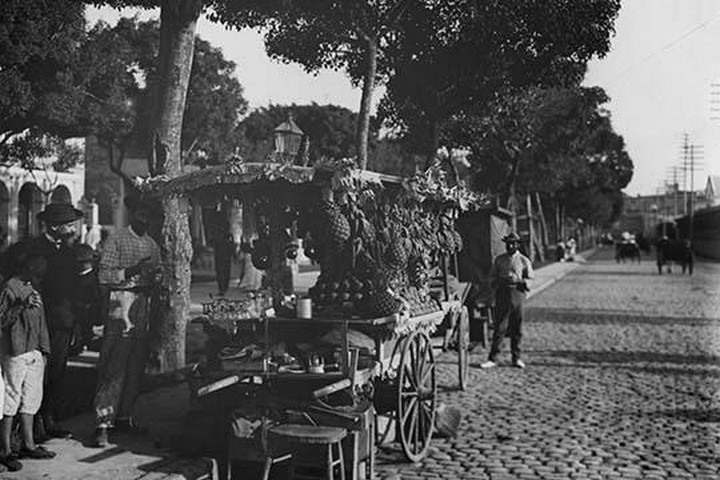 Fruit Stands on the Prado - Art Print