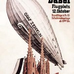 Graf Zeppelin Flies over the Cathedral by Otto Jacob Plattner - Art Print