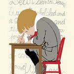 Boy Writes a Letter to Santa - Art Print