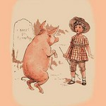 Pig on Hind Legs and Little Girl - Art Print