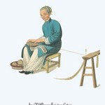 An Old Woman Twisting Cotton by George Henry Malon - Art Print