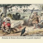 Romulus and Remus Discovered by a Gentle Shepherd by John Leech - Art Print