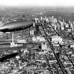 Zeppelin Above Philadelphia by FREE LIBRARY OF PHILADELPHIA - Art Print