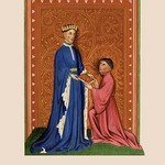 Occleve Presenting his Book to Henry V by H. Shaw - Art Print