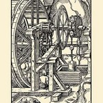 De Re Metallica Plate 16: Wheel Turned By Treading - Art Print