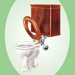 Toilet with Wooden Back - Art Print