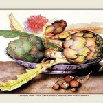 A Chinese Dish With Artichokes, a Rose and Strawberries by Giovanna Garzoni - Art Print