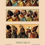 A Variety of Asiatic Head-Coverings #2 by Auguste Racinet - Art Print