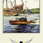 Flags and Boat (Dodge Boats) - Art Print