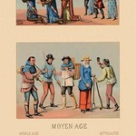 A Variety of French Medieval Costumes by Auguste Racinet - Art Print