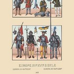 An Assortment of Military Costumes of the Renaissance by Auguste Racinet - Art Print