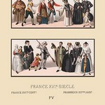 A Variety of Sixteenth Century French Costumes and Classes by Auguste Racinet - Art Print
