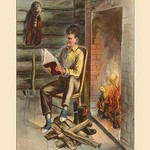 A Lover of Books and Study (Abe Lincoln) by Harriet Putnam - Art Print
