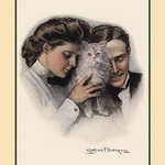 A Cat Between Them by Clarence F. Underwood - Art Print
