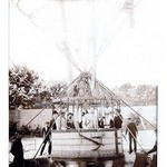 Balloon Expedition; Photographic representation of Men about to lift of in a basket turn of the century - Art Print