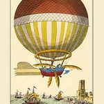 First Channel Crossing by Air, 1785 - Ballon with paddles Crosses the English Channel in Illustration with ships below - Art Print