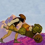A Knave with a Wheelbarrow by Maxfield Parrish - Art Print