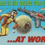 There is no space for Guns At work. by Wilbur Pierce - Art Print